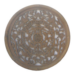 Golden Lotus - Chinese Round Birds Bats Wood Wall Plaque - This is a round wood plaque with nice hand crafted see through carving.