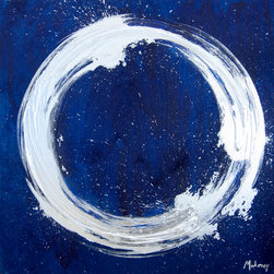 Indigo - Original Acrylic Painting - The blue in this large painting is deep and captivating. It features acrylic paint with silver enamel and silver foil leaf on wood panel. Enso-inspired, this original artwork speaks to Japanese themes and the beauty of simplicity.