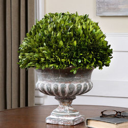 Preserved Boxwood Garden Urn - Genuine natural foliage freshly picked from boxwood plants is carefully preserved to maintain its lushness and perched beautifully in a stony grey ceramic urn that requires no water and minimal maintenance. Bring nature indoors and inspire feelings of relaxation and openness by placing a duo of these elegant urns in your entry way or living room.