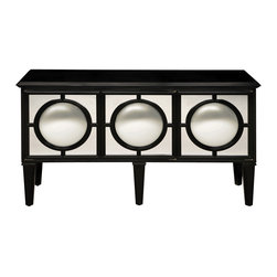 Sterling Industries - Sterling Industries 6042473 Mirage Sideboard Ebony - Impressive Sideboard With Plenty Of Storage And Shelving.  The Round Convex Mirrors On Each Of Three Doors Reflect The Entire Room And Make Every Space Sparkle Adding Real Drama To This Remarkable Piece.  Sideboard (1)