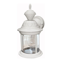 Heath Zenith - Heath Zenith SL-4168-MW Bridgeport 1 Light 150 Degree Motion Activated Decorativ - Heath Zenith SL-4168-MW Bridgeport 1 Light 150 Degree Motion Activated Decorative Security Wall Sconce, Matte WhiteA gorgeous addition to any home, the matte white SL-4168-MW features full 150 degree motion detection up to 30 foot away. The lantern has clear beveled glass and is constructed of metal with a weather resistant finish. Uses one medium base incandescent bulb (100 watt max - not included). Features include DualBrite two-level lighting for ambient lighting that becomes full bright when motion is detected.Heath Zenith SL-4168-MW Features:
