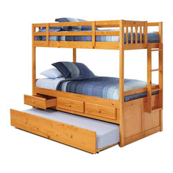 Chelsea Home - Twin Over Twin Bunk Bed with Trundle - NOTE: ivgStores DOES NOT offer assembly on loft beds or bunk beds. Mattresses not included. Rustic style. Three storage drawers. Hand finished stain with three step process to compliment natural wood grain. Rails connect to bed ends by metal to metal machine bolt and t-nut for secure hold. Three storage drawers. Tested by Federal Safety Standards which require 400 pounds to be placed in the top bunk on top of mattress foundation. Meet and exceed all of the following rules: ASTM F-1427-07, CFR 1213, CFR1513 and lead testing. Weight capacity: 250 pounds. Constructed for strength and durability. Warranty: One year. Made from solid pine wood. Honey finish. Made in Brazil. Assembly required. 80 in. L x 43 in. W x 70 in. H (189 lbs.). Bunk Bed Warning. Please read before purchase.Warning: Falling hazard, bunk beds should be used by children 6 years of age and older!