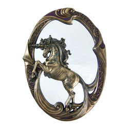 Zeckos - Stunning Bronzed Finish Unicorn Wall Mirror - This incredibly beautiful Art Nouveau style wall mirror is the perfect gift for unicorn lovers. It features a rearing unicorn in the center, in front of the mirrored glass, and has a swirling bronze finishes frame. Made of cold cast resin, it measures 15 inches tall, 11 inches wide. The bronzed finish fits with most decor schemes. It adds a great look to any wall.