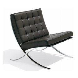 Ariel - Rohe Style Classic Designer Barcelona Chair In Black Top Grain Italian Leather - Originally designed for royalty, the Rohe Style Classic Designer Barcelona Chair is renown for its simplicity and comfort. Featuring a seamless stainless steel frame paired with top grain genuine leather, suspended by fine leather belt straps, the Barcelona Chair comes fully assembled for your convenience. Available in white or black leather.