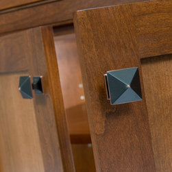 Custom Cherry Buffet - Show the detail of the hardware selection.   We did a an oil rubbed bronze square knob for the doors.