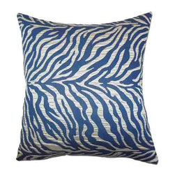 The Pillow Collection - Helaine Blue 18 x 18 Zebra Print Throw Pillow - - Pillows have hidden zippers for easy removal and cleaning  - Reversible pillow with same fabric on both sides  - Comes standard with a 5/95 feather blend pillow insert  - All four sides have a clean knife-edge finish  - Pillow insert is 19 x 19 to ensure a tight and generous fit  - Cover and insert made in the USA  - Spot clean and Dry cleaning recommended  - Fill Material: 5/95 down feather blend The Pillow Collection - P18-M-FORTITUDE-MARINE