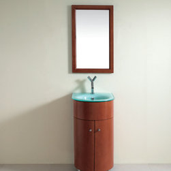 Art Bathe Cortes Small Bathroom Vanity - Demi-lune design for the smaller bathroom, this low profile vanity comes with soft-closing curved doors.