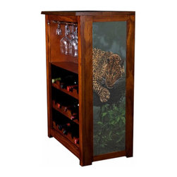 Kelseys Collection - Wine Cabinet 15 bottle Leopard in the Tree - The Jessica Wine Cabinet showcases and stores wine and glassware with solid  pine construction. Famous artwork is giclee-printed on canvas side panels. The licensed art is from among the World's Best Selling and Recognized Artists. Solid  radiata pine with a hand stained and hand rubbed rubbed medium reddish brown finish. The art is giclee printed on canvas with three coats of UV inhibitor. The canvas is then glued onto panels and inserted into the frames. The overall dimensions are 33  by 22  by 11.5  Net weight 20# Three racks each holding 5 bottles.  Shelf, and stemware holder.  Estimated assembly time   20 minutes