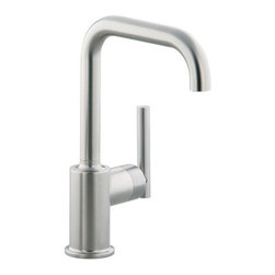 """Kohler - Kohler K-7509-SN Vibrant Polished Nickel Purist Single Handle Bar - Purist  Secondary Swing Spout without Spray The simple, architectural form of the Purist faucet line has been extended into the kitchen. Available in two sizes, the single-control design of Purist remains intuitive to use and minimal in form creating visual appeal and an honest interpretation of classic modernity.  Streamline contemporary styling makes clean-up and maintenance simple and quick  Spout rotates 360 degrees with 7-5/8"""" clearance below spout for maximum versatility and use with large pots and pans  ADA compliant lever handle for ease of operation  Utilizes KOHLER  installation ring and flexible connections for simplicity of installation  KOHLER finishes resist corrosion and tarnishing, exceeding industry durability standards over two times  KOHLER ceramic disk valves exceed industry longevity standards by over two times, ensuring durable performance for life"""