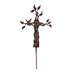 Z Garden Party, INC. - Tree Cross Garden Sculpture on Stake - The Tree Cross garden stake is a wonderful addition to any yard or patio. The tree design is often referred to as the tree of life. It is hand made from heavy rusted steel in the USA. It is designed by California artist Susan Regert.