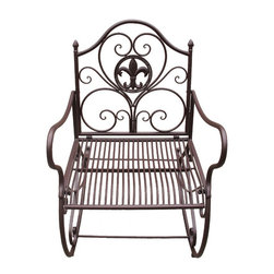 Zeckos - Fleur de Lis Brown Metal Patio Rocking Chair - This beautiful metal patio rocking chair has a seashell design on the back of the chair, and has an antiqued white painted finish. It features an attached cup holder on the right arm. The chair measures 23 1/2 inches wide, 29 1/2 inches deep and 36 inches tall. It can be used indoors or outdoors, and makes a great gift.