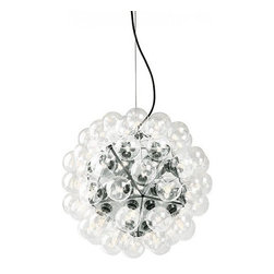 """Flos - Flos Taraxacum 88s chandelier - The Taraxacum S1 has 60 clear Globolux lamps and the Taraxacum S2 has 120 clear Globolux lamps housed around the structure. The ceiling fitting, suspension cable and rose of this elegant lamp consists of steel.  Product description:  The Taraxacum suspension lamp by Flos is designed by Achille Castiglioni in 1988. This spectacular suspension lamp provides direct and reflected light. The structure is formed by 20 pressed and polished aluminium triangles. The Taraxacum has 60 clear Globolux lamps housed around the structure. The ceiling fitting, suspension cable and rose of this elegant lamp consists of steel.  Details:                         Manufacturer:             Flos                            Designer:             Achille Castiglioni                             Made in:            Italy                            Dimensions:             Diffuser diameter 31.5"""" cord length:216.54""""                                         Light bulb:             60 x 25W - Bulbs included                            Material             Globolux lamps, steel, aluminium triangles"""