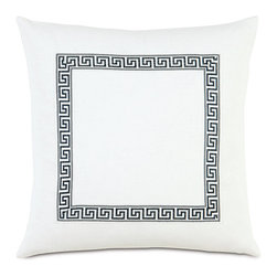Frontgate - Scalamandre Greek Key Decorative Pillow - Includes a high-quality down fill pillow insert. 100% cotton construction. Zippered closure for easy care. Please allow 4-6 weeks for delivery. Dry clean only. Bring elegance to a couch, chair, or bed with our Greek Key Decorative Pillow. Dress up a family room or bedroom with this timeless, functional accessory.. . . . . Made in the USA.