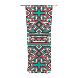 """Kess InHouse - Pom Graphic Design """"Ethnic Floral Mosaic"""" Teal Red Decorative Sheer Curtain - Let the light in with these sheer artistic curtains. Showcase your style with thousands of pieces of art to choose from. Spruce up your living room, bedroom, dining room, or even use as a room divider. These polyester sheer curtains are 30"""" x 84"""" and sold individually for mixing & matching of styles. Brighten your indoor decor with these transparent accent curtains."""