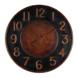 Uttermost - Rust Colored Vintage Wall Clock-36 in. - This  golden  bronze  and  black  clock  is  hand  forged  out  of  metal  with  a  mottled  finish.  With  large,  clear  numbers,  this  clock  is  sure  to  be  a  favorite.  Great  for  any  living  space  or  office.