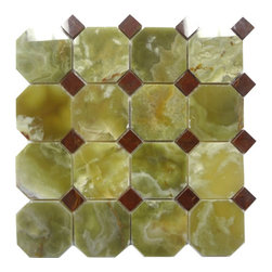 """Marbleville - Dark Green Onyx Octacgon Polished Red Dot Insert Mesh-Mounted Mosaic in 12""""x12"""" - Premium Grade Dark Green Onyx Octacgon Pattern Polished Finish with Red Dot Insert Mesh-Mounted Onyx Mosaic is a splendid Tile to add to your decor. Its aesthetically pleasing look can add great value to any ambience. This Mosaic Tile is made from selected natural stone material. The tile is manufactured to high standard, each tile is hand selected to ensure quality. It is perfect for any interior projects such as kitchen backsplash, bathroom flooring, shower surround, dining room, entryway, corridor, balcony, spa, pool, etc."""