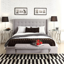 INSPIRE Q Marion Grey Linen Nailhead Wingback Upholstered King-sized Bed -