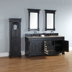 72 Inch Brookfield Antique Black Double Sink Vanity - Please note: Vanities are priced with no vanity top. Multiple vanity top options available.