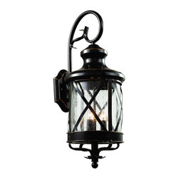 """Trans Globe Lighting - Trans Globe Lighting 5122 ROB New England Coast 29"""" Outdoor Wall Light - Coastal New England horse and carriage wall lantern. Cross bar frame with rounded seeded glass. Wrought iron wall arm and temple top cap."""