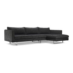 Owens Fabric Chaise Sectional - The Owens is our embodiment of a picture-perfect, clean-lined contemporary sectional. It is thoughtfully designed and constructed with high set steel legs and soft comforting cushions.