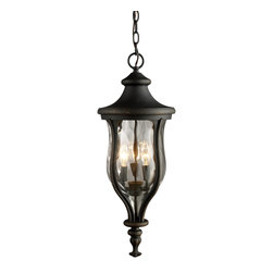 Elk Lighting - Elk Lighting Grand Aisle Traditional Outdoor Hanging Light X-3/45224 - This Elk Lighting Grand Aisle traditional outdoor hanging light is an elegant piece with an interesting design. Made to resemble European gas lanterns found in stately avenues and historical structures, this three-light fixture incorporates a shapely, cast aluminum frame in a weathered charcoal finish and a tapered water glass shade. It's a piece that's sure to stand out in most any outdoor space.