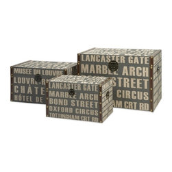"IMAX CORPORATION - Central Line Storage Trunks - Set of 3 - Central Line Storage Trunks. Set of 3 trunks in varying sizes measuring approximately 11.75-13.5-18.5""H x 19.75-23.75-28""W x 11-14.75-17.75"" each. Shop home furnishings, decor, and accessories from Posh Urban Furnishings. Beautiful, stylish furniture and decor that will brighten your home instantly. Shop modern, traditional, vintage, and world designs."