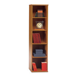 """Bush Business - Book Tower in Natural Cherry - Series C - The Open Bookcase Series C Natural Cherry features three adjustable shelves for flexibility and two fixed shelves for stability. This 18 inch wide bookcase in richly toned Cherry is ideal for smaller offices or anywhere space is at a premium. Book towers let you design for any space and they'll add just the right height to rooms with high or low ceilings. The look of a natural cherry finish is a popular choice for homes and offices and will find years of use as accent pieces. * Two fixed shelves for stability. Three adjustable shelves for flexibility. Matches 71"""" Hutch in height and depth. Ships ready for easy assembly17.835 in. W x 15.354 in. D x 72.834 in. H"""