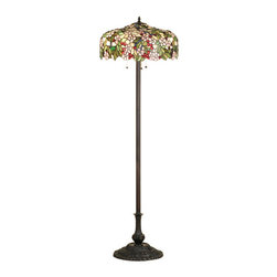 """Meyda Tiffany - 63""""H Tiffany Cherry Blossom Floor Lamp - Cardinal Red jewel cherries glisten between Rosy Pink flowers and Verdant Green leaves in our version of the Tiffany Studio's cherry blossom. The cascading blooms and fruit form the undulating edge of this colorful and intricately patterned stained glass shade. This lovely shade rests on a Mahogany Bronze hand finished floor lamp base."""