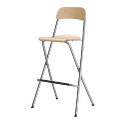 FRANKLIN Bar stool with backrest, foldable - Bar stool with backrest, foldable, birch veneer, silver color