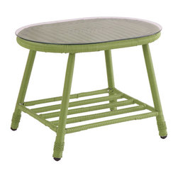 Woven Patio Table with Glass Top - This patio table is cheerful and practical. It's a great way to bring a splash of color into a space. It has a glass top as well so it's great for cocktail hour.