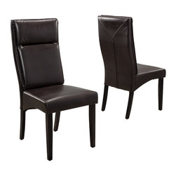Great Deal Furniture - Thiago Brown Leather Padded Dining Chairs (Set of 2) - The Thiago Dining Chairs are a perfect set to bring together any space in your home. The well padded backrest makes these chairs inviting and offer more comfortable seating than most dining chairs. They complement almost any decor and even double as extra seating and will satisfy for years to come.