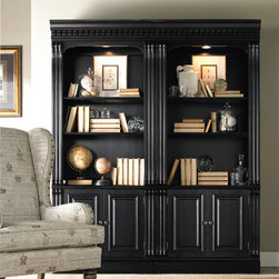 Hooker Furniture - Hooker Furniture Telluride Bunching Bookcase with Doors 370-10-446 - Telluride�s black paint finish with heavy reddish brown rub-through, carved leather panels and nail head trim give this home office furniture a rich masculine look.