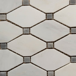 Carrara White - Grey Dot Diamond Mosaic Tile - Size: 11''x11''
