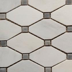 Carrara White - Grey Dot Diamond Mosaic Tile - Size: 11''x11''
