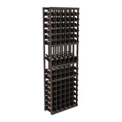Wine Racks America - 6 Column Display Row Wine Cellar Kit in Redwood, Black + Satin Finish - Make your best vintage the focal point of your wine cellar. These decorative wine racks allow presentation of favored and coveted labels. This solid build wine rack is constructed from superior pine and redwood materials. Features our industry exclusive solid display trays with a high reveal.