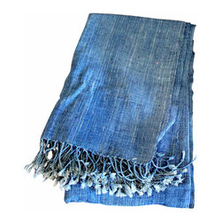 Hand-Spun Organic Cotton Throw - This gorgeous hand-spun, hand-dyed indigo throw is one of a kind. Almost resembles a denim fabric. Looks great worn as a shawl or thrown over a chair or a bed. Beautiful variation in the dye.