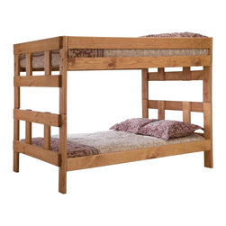 Chelsea Home - Full Over Full Bunk Bed - NOTE: ivgStores DOES NOT offer assembly on loft beds or bunk beds.. Includes slat packs. Mattresses not included. Rustic style. Metal brackets are used to connect the rails to the headboard and footboard. Rails with 1.25 in. cleat which is glued and screwed to the rail for extra strength to support the mattress foundation. Exceed all safety standards of the consumer product safety commission. Constructed for strength and durability. Can hold up to 400 lbs. of distributed weight. Warranty: One year. Made from solid pine wood. Ginger stain finish. Made in USA. Assembly required. Distance between top and bottom bunk: 34 in.. 80 in. L x 56 in. W x 61 in. H (190 lbs.). Bunk Bed Warning. Please read before purchase.Warning: Falling hazard, bunk beds should be used by children 6 years of age and older!
