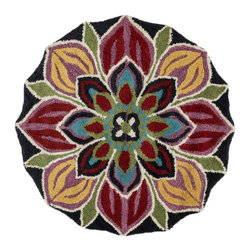 """Loloi Rugs - Loloi Rugs Azalea Collection - Black/Multi, 3'-0"""" x 3'-0"""" Round - The Azalea Collection celebrates desirable round rugs in the most updated colors and patterns for today's fashionable interiors. Available in a broad range of styles, Azalea has a distinctive look that is achieved by its meticulously hand-tufted, wool construction. Made in India, the cut-and-loop textured rounds come in a varied palette that includes spring and fall hues, brights and everyday, familiar tones, too. These fresh rounds will add a dramatic wow-factor to any interior."""