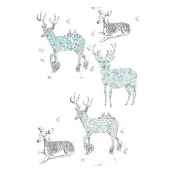 Dana Haim, LLC - Oh Deer Wallpaper, Pale Mint - Digitally printed wall coverings inspired by multifaceted crystals and magic. Designed in Brooklyn and printed in California. No VOC's. Sold per square foot. Please allow 2-4 weeks.