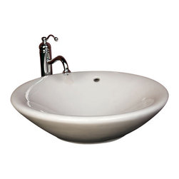 "TCS Home Supplies - Round Porcelain Ceramic Countertop Bathroom Vessel Sink - 21 x 6-1/4 Inch - Bathroom Vessel Sink. Countertop-Mount Installation. Round Large Bowl. Porcelain Ceramic. Match with any Vessel Filler and Wall-Mount Faucets. Exterior Diameter 17-1/2"". Interior Diameter 16"". Depth 7-3/4""."