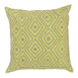 "Surya - Surya 20 x 20 Decorative Pillow, Chartreuse and Olive Gray (LD031-2020P) - Surya LD031-2020P 20"" x 20"" Decorative Pillow, Chartreuse and Olive Gray"