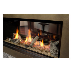 1600I L1 Linear 2-sided - A beautiful 2-sided linear fireplace, can be enjoyed in one room or two. Can be customized with your choice of 5 surround options and 4 firebed options.