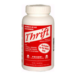 Thrift Marketing - Thrift T-100 Alkaline Based 1-Pound Granular Drain Cleaner - Dissolves grease & hair in 60 seconds or less Odorless 4-in-1 drain cleaner: Small Drains, Grease Traps, Septic Systems, Root Control. Will not harm porcelain, chrome, plastic or metal pipes, fine plumbing fixtures, acrylic or fiberglass Non-acid formula - contains high percentage of sodium hydroxide Will not harm plumbers snakes Enhances the growth of active bacteria Can be stored indefinitely 1 lb