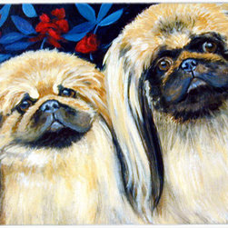 Caroline's Treasures - What a pair of Pekingese Kitchen or Bath Mat 24x36 - Kitchen or Bath COMFORT FLOOR MAT This mat is 24 inch by 36 inch.  Comfort Mat / Carpet / Rug that is Made and Printed in the USA. A foam cushion is attached to the bottom of the mat for comfort when standing. The mat has been permenantly dyed for moderate traffic. Durable and fade resistant. The back of the mat is rubber backed to keep the mat from slipping on a smooth floor. Use pressure and water from garden hose or power washer to clean the mat.  Vacuuming only with the hard wood floor setting, as to not pull up the knap of the felt.   Avoid soap or cleaner that produces suds when cleaning.  It will be difficult to get the suds out of the mat.