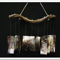Curly Vine Blacklip shell Windchime - This windchime is the ultimate in natural chimes. The brown shells are beautiful with the different hues in them. The design cleverly maintains the feel of the vine in the shape of the hanger.