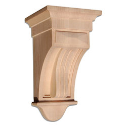 """Inviting Home - Texas Small Wood Corbel - Maple (CB2S/cbl2-10) - wood corbel in hard maple 10""""H x 5-1/2""""D x 5-1/2""""W Corbels and wood brackets are hand carved by skilled craftsman in deep relief. They are made from premium selected North American hardwoods such as alder beech cherry hard maple red oak and white oak. Corbels and wood brackets are also available in multiple sizes to fit your needs. All are triple sanded and ready to accept stain or paint and come with metal inserts installed on the back for easy installation. Corbels and wood brackets are perfect for additional support to countertops shelves and fireplace mantels as well as trim work and furniture applications."""