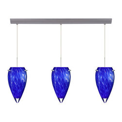 Besa Lighting - Besa Lighting 3JV-412586-LED Juli 3 Light LED Linear Pendant - The Juli pendant inverts a teardrop glass, that will gracefully blend into almost any decorating theme. Our Blue Cloud glass is full of floating, splashes of blue tones over white that almost feels like a watercolor painting. This combination of color is crisp and timeless. This decor is created by rolling molten glass in small bits of blue hues called frit. The result is a multi-layered blown glass, where frit color is nestled between an opal inner layer and a clear glossy outer layer. The handcrafted touch of a skilled artisan, utilizing century-old techniques passed down from generation to generation, creates variations in color and design that are to be appreciated. The cord pendant fixture is equipped with three (3) 10' SVT cordset and a 3-light bar canopy.Features: