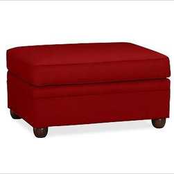 """Chesterfield Upholstered Ottoman, Twill Sierra Red - Comfort and style define our Chesterfield Collection. Crafted in the America using eco-friendly components, our ottoman works equally well as additional seating or as a footrest companion to the Chesterfield Sofa or Armchair. 38"""" w x 27"""" d x 21"""" h {{link path='pages/popups/PB-FG-Chesterfield-3.html' class='popup' width='720' height='800'}}View the dimension diagram for more information{{/link}}. {{link path='pages/popups/PB-FG-Chesterfield-4.html' class='popup' width='720' height='800'}}The fit & measuring guide should be read prior to placing your order{{/link}}. Ottoman has a polyester wrapped cushion. Proudly made in America, {{link path='/stylehouse/videos/videos/pbq_v36_rel.html?cm_sp=Video_PIP-_-PBQUALITY-_-SUTTER_STREET' class='popup' width='950' height='300'}}view video{{/link}}. For shipping and return information, click on the shipping info tab. When making your selection, see the Special Order fabrics below. {{link path='pages/popups/PB-FG-Chesterfield-5.html' class='popup' width='720' height='800'}} Additional fabrics not shown below can be seen here{{/link}}. Please call 1.888.779.5176 to place your order for these additional fabrics."""