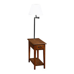 "Lamps Plus - Arts and Crafts - Mission Leick Furniture Medium Oak Chairside Lamp Table - Leick Furniture Medium Oak Chairside Lamp Table Solid ash wood construction. Hand-applied medium oak finish. Ecru bell shade. One storage drawer. Single bottom shelf. Built-in swing arm style lamp. Antique black finish drawer pulls. 57"" high. 12"" wide. 23 1/2"" deep.  Solid ash wood construction.  Hand-applied medium oak finish.  Ecru bell shade.  One storage drawer.  Single bottom shelf.  Built-in swing arm style lamp.  Slate black finish drawer pulls.  Takes one 60 watt bulb (not included).  On/off rotary switch.  57"" high.   12"" wide.   23 1/2"" deep."