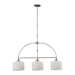 Three Light Satin Nickel Matte Opal Glass Island Light - Matte opal glass shades rest elegantly upon beautifully curved arms that are finished in brushed nickel, creating a look that is uniquely modern. This three light island fixture will add a touch of modern class where ever it is hung. Sectional rods are included to any suit hanging height.